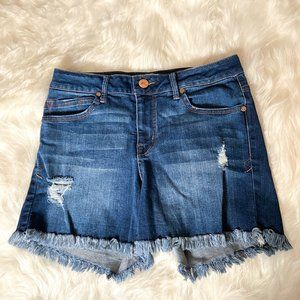 High Rise Jean Shorts With Fringe Detail